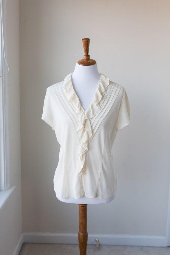 Vintage Short Sleeve Silk Poet Blouse, 100% cream