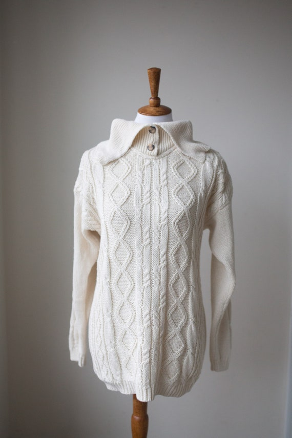 Vintage Ivory Cable Knit Sweater | Fisherman Style