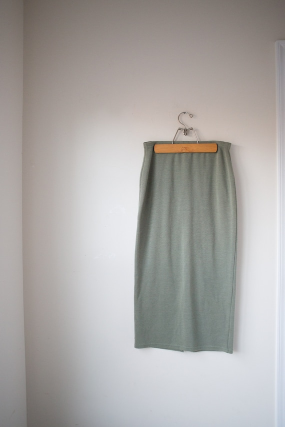 Vintage Soft Cotton Blend Pencil Skirt, 90s Fitted
