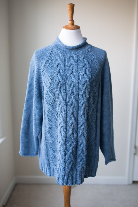 Vintage Chunky Cable Knit Cotton Sweater | Vintage