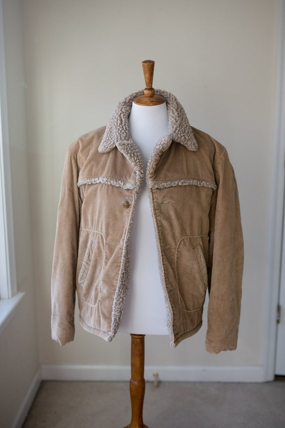 Vintage Corduroy Sherpa Jacket | Tan Corduroy Coat