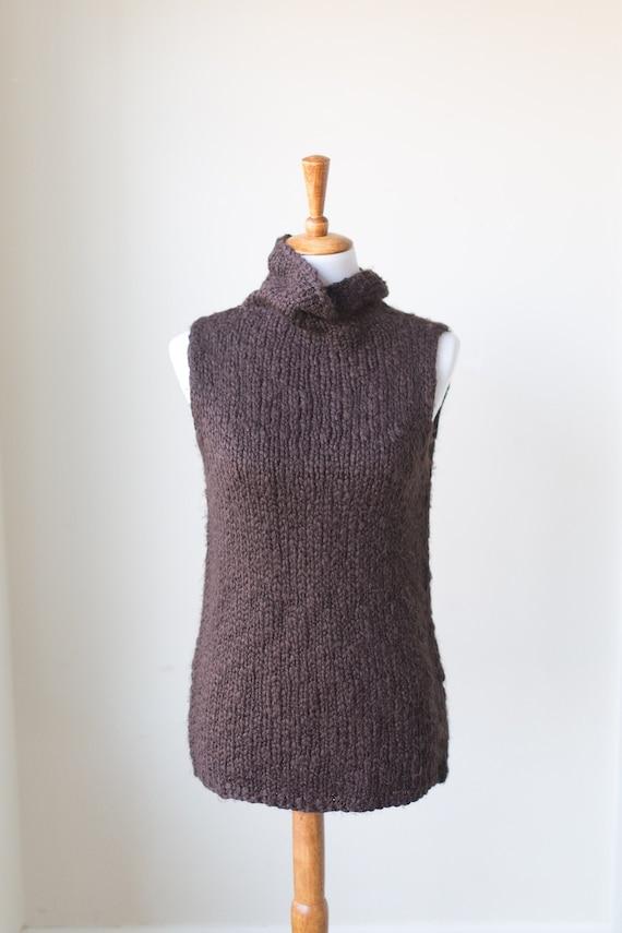 Vintage Chunky Sleeveless Turtleneck, Knit Sweater