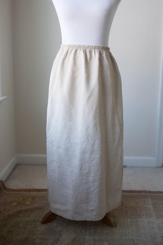 Vintage Long Linen Skirt | Natural Linen Skirt | N