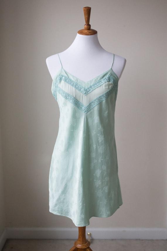 Vintage Silk Soft Mint Slip | Vintage Lingerie | S