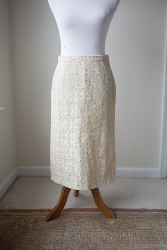 Vintage Lace Pencil Skirt   Cream Skirt   1960s  