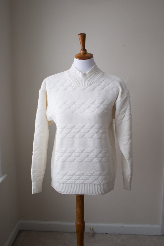 Vintage Ivory Jantzen Sweater, Mock Neck Sweater