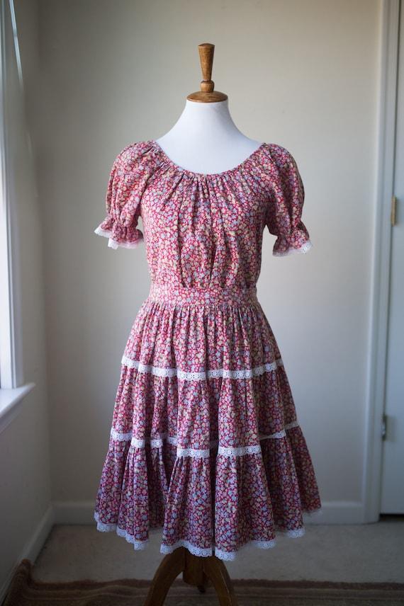 Vintage Pink Skirt and Blouse Set | Garden Dress |