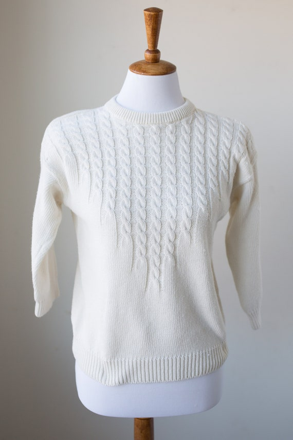 Cropped Sleeve Embroidered Sweater