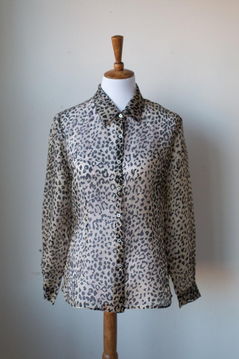 04109dd409bc Vintage 100% Silk Sheer Leopard Print Shirt Size 8 Vintage | Etsy