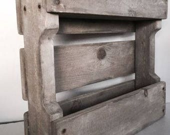 Primitive Country Farmhouse Antique Look Aged Wood Pallet Wine Rack Cabinet