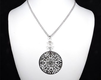 Filigree necklace, moonstone pendant, silver chain necklace, rainbow moonstone jewelry necklace, silver necklace, white gemstone jewelry cyl