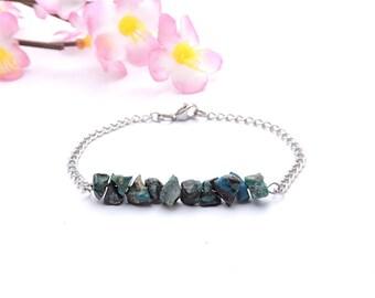 Turquoise stone jewelry, chrysocolla bracelet, women hippie jewelry silver chain bracelet turquoise stone bracelet hippie women bracelet shi