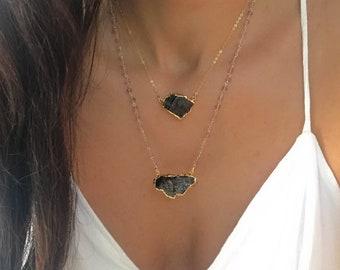 Noble Shungite Necklace // Gold Shungite Necklace // Shungite Necklace // Elite Nobel Shungite Gold Necklace