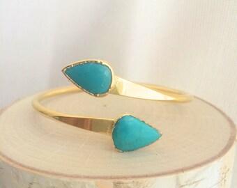 Turquoise Bracelet // Turquoise Gold Bracelet // Turquoise Cuff Bracelet // Turquoise Bangle Bracelet