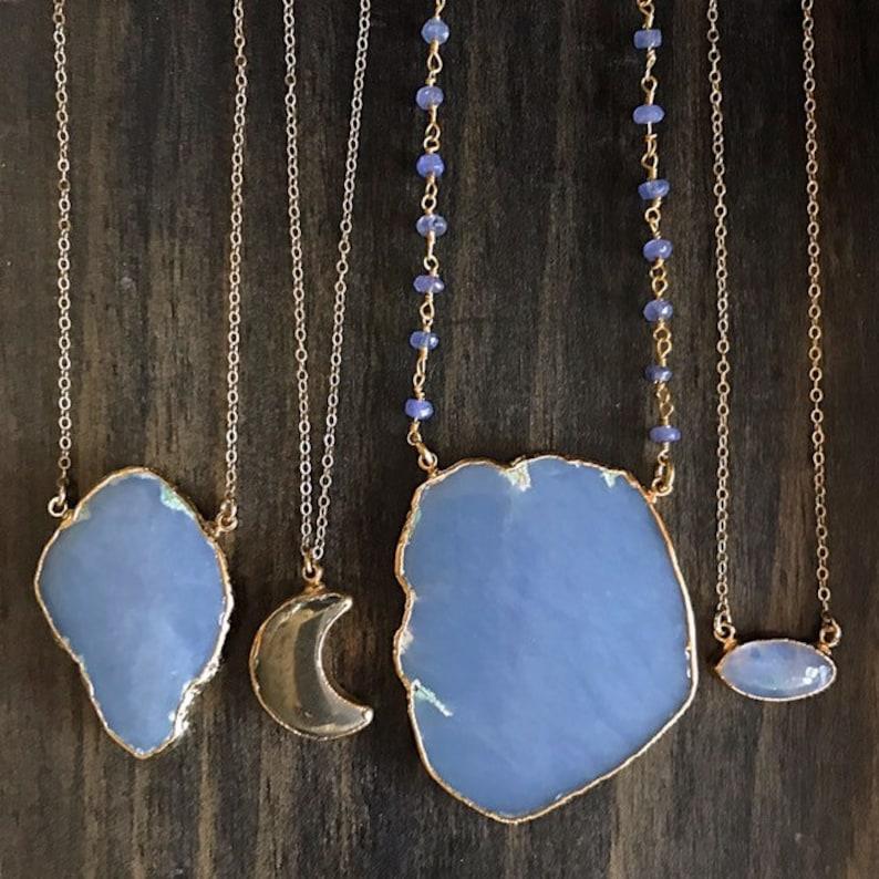 Moonstone Gold Necklace  Moonstone Pendant Necklace  Moonstone Necklace