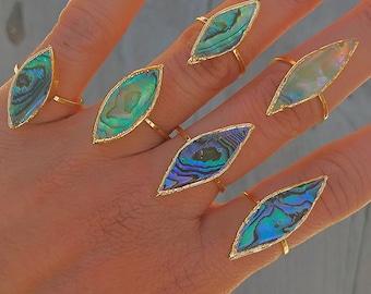 Abalone Shell Gold Ring // Abalone Shell Ring Large Abalone Shell Ring