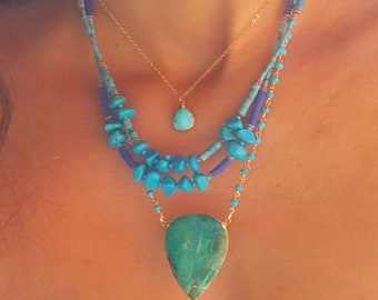 Turquoise Beaded Necklace // Turquoise Statement Necklace // Turquoise Necklace // Turquoise Gold Necklace