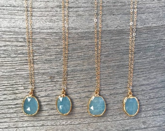 Aquamarine Gold Necklace // Aquarmarine Pendant Necklace // Aquarine Necklace