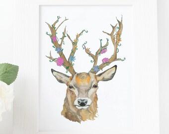 Deer Stag Flower Watercolour Art Print