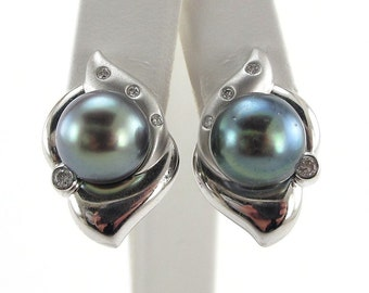 Diamond And Tahitian Black Earrings South Sea Pearl 18k White Gold