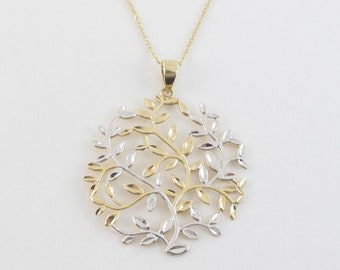 14K Gold Tree Branch Festoon Style Necklace Rose or White Gold Yellow