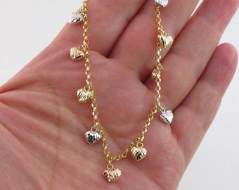 14kt gold Gep Cubic Zirconis Infinite Heart Thick belly Chain Anklet SET