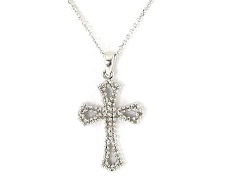 14K White Gold Diamond Cross Chain Necklace -  14k Cable Chain