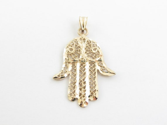Protection Good Luck Charm 14K Yellow Gold Children/'s Hand Of God Hamsa Charm Pendant