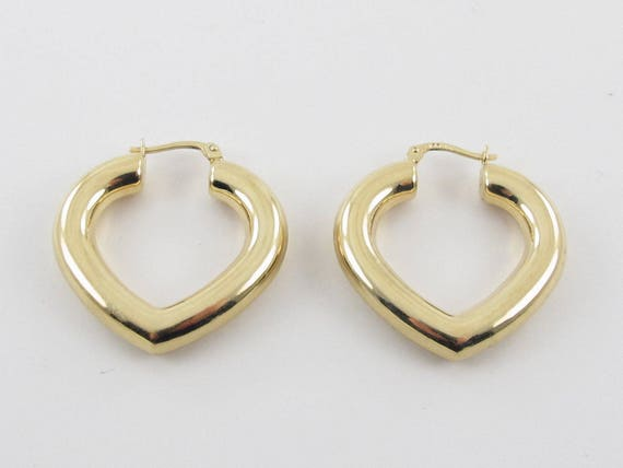 """5mm X 30mm 1 1//4/"""" Thick All Shiny Hoop Earrings Real 14K Yellow Gold FREE SHIP"""