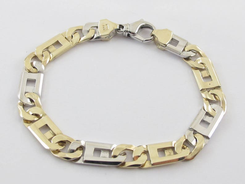 f97d3882604 Tiger Eye Link Men s Bracelet 14k Yellow Gold 14k Yellow
