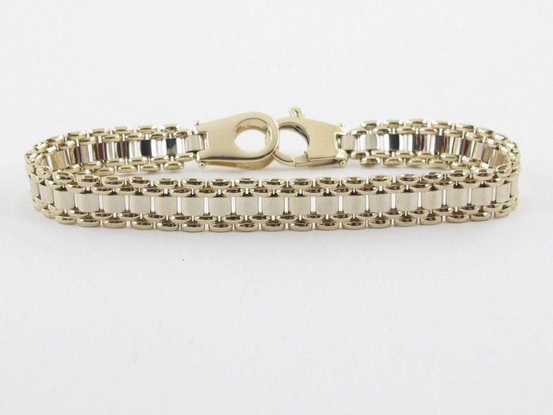 e1ac9b8dd 14K Yellow Gold Men's Bracelet Elegant Two Tone Panther | Etsy