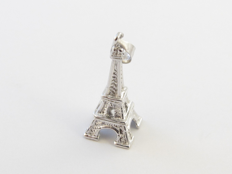 14 k k 14 or blanc 3D tour Eiffel pendentif Charm 7afd2e