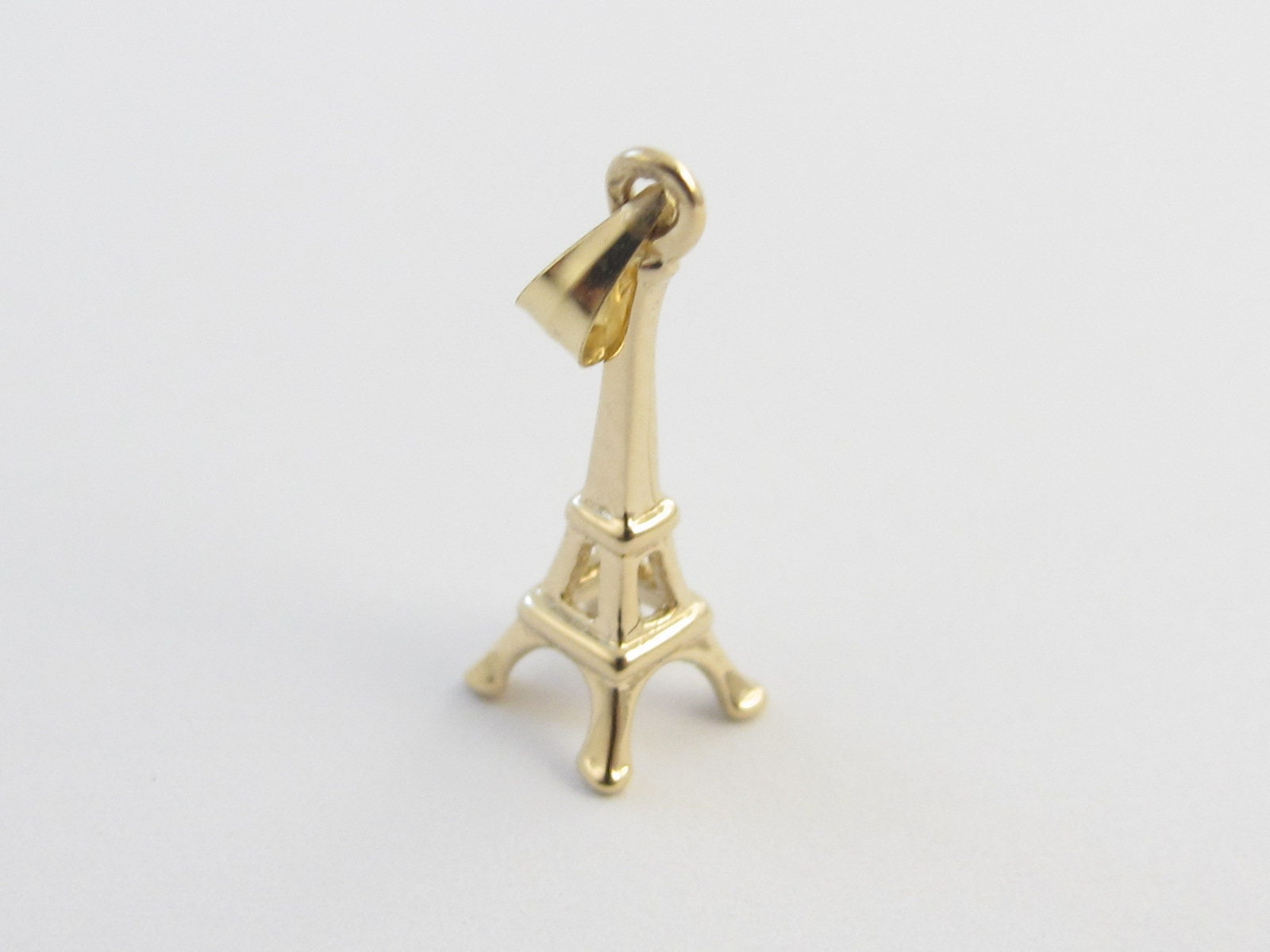 Details about  /14K Yellow Gold 3D Eiffel Tower Charm Pendant MSRP $206