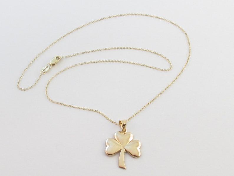 14k Yellow Gold Irish Clover Shamrock Pendant Necklace 16 18 20 Clover For Good Luck