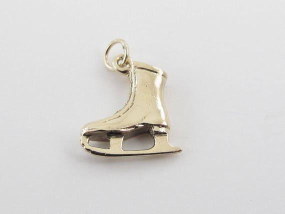 14k Yellow gold Ice Skating Boot Charm - 14k Yello