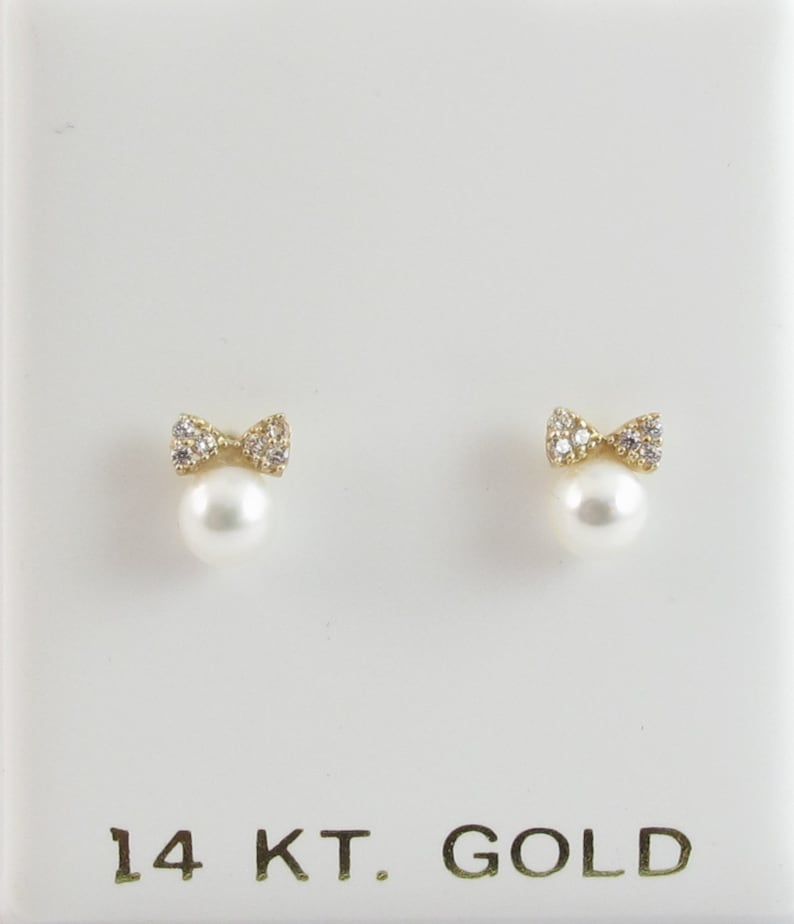 14k-Yellow//White-Gold-Bow Pearl color  cz Stud-Earring-Baby-Children-Screwback