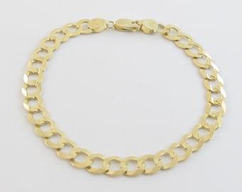 "14k Solid Yellow Gold Men's Cuban Link Bracelet 8"""