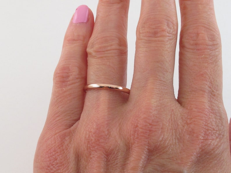Plain Polished Dome  2 mm Wide Available in Yellow White And Rose Gold 14k Solid Gold Wedding Band