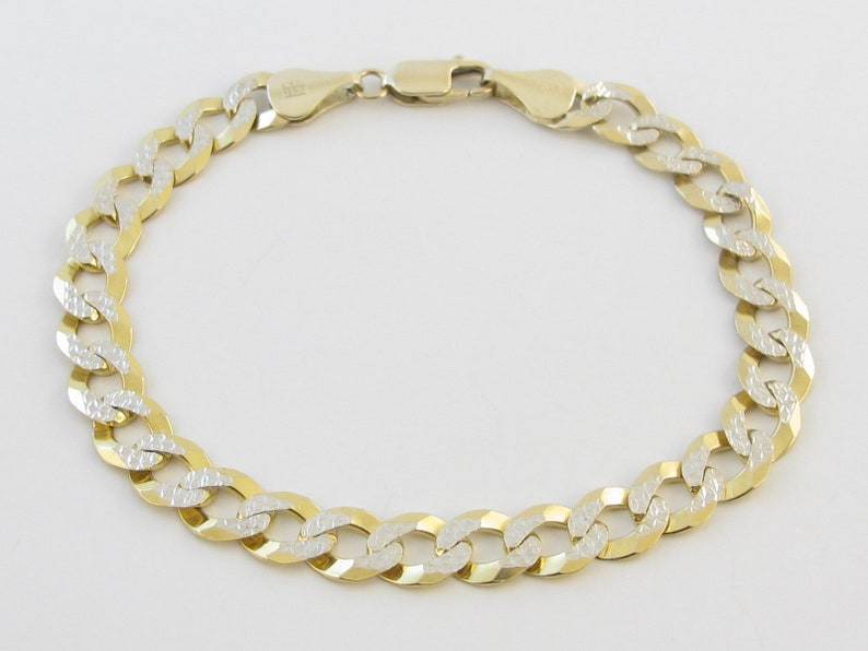 f32448a12440f 14K Yellow And White Gold Men's Cuban Curb Link Bracelet 8 1/2