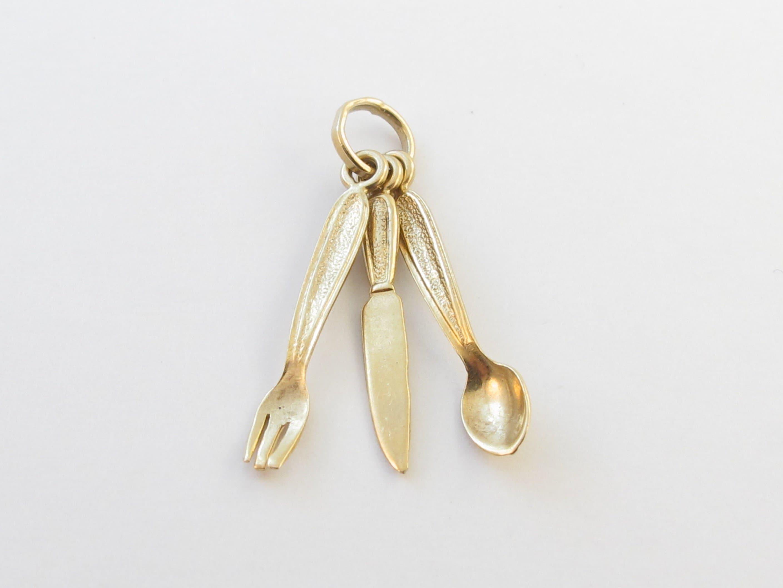 14 k or or k jaune au couteau cuillère et fourchette pendentif Charm 8337b2