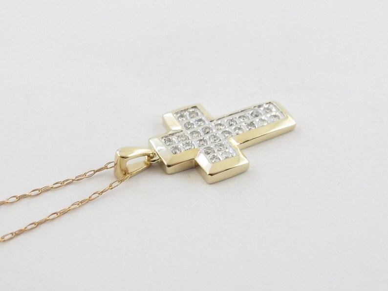 Elegant Diamond Cross 10K Yellow Gold Diamond Cross Chain Necklace