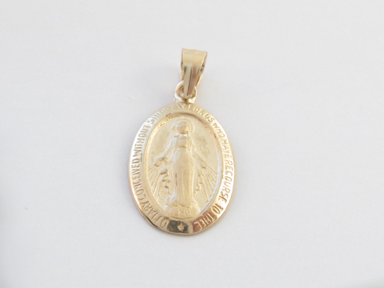 14 k or jaune Vierge Marie breloque pendentif - - pendentif petite taille pour les enfants et les femmes - cadeau pour baptême, Confirmation, anniversaire 516bab