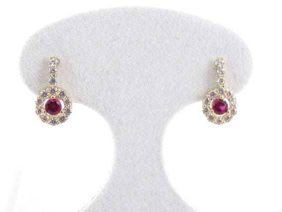 Simulated Ruby Heart Huggie Hoop Earrings 14K Yellow Gold Over Sterling Silver