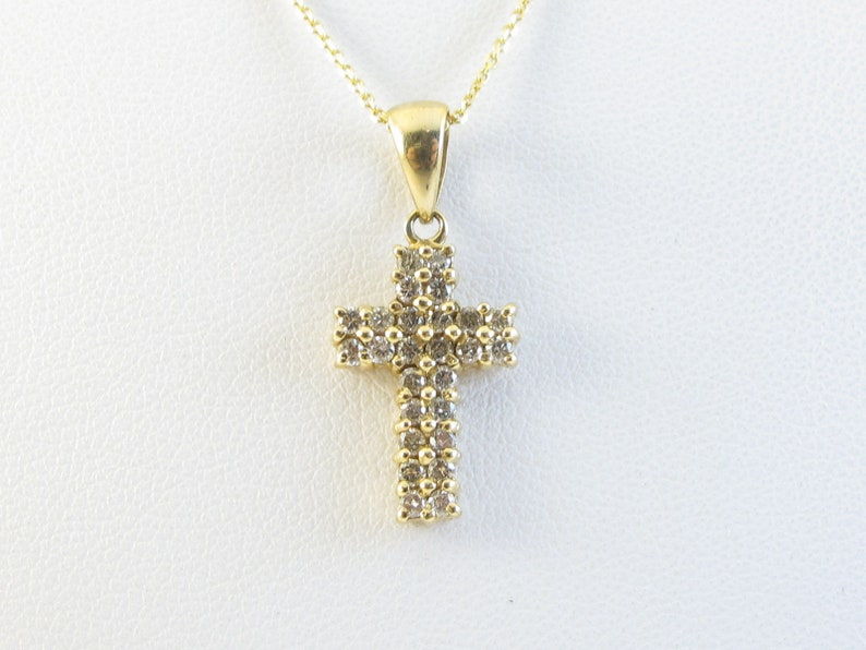 bb03611e766a8 14k Yellow Gold Diamond Cross Pendant Necklace - Elegant Diamond necklace -  Great Gift for Her