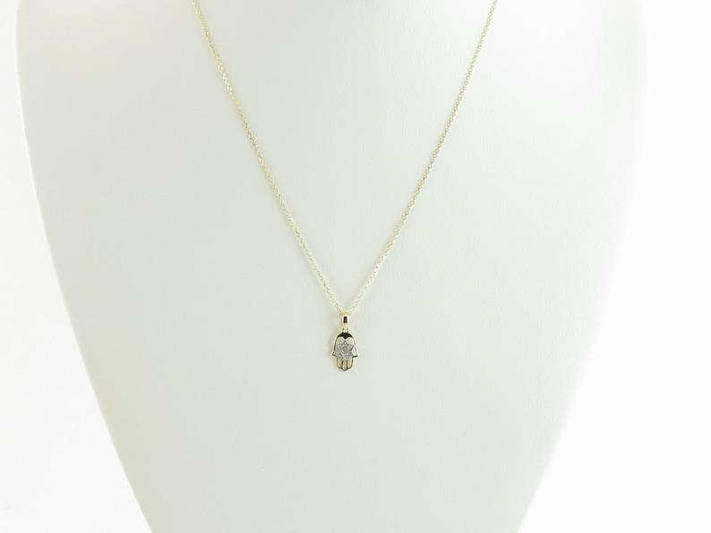 14k Yellow Gold Hamsa Jewish Star Of David Diamond Necklace 16 Great Necklace For Children