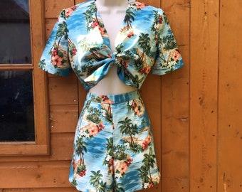 Hawaiian Shorts Blouse and Shorts Set 2 pc Set 1980s Cotton Sleeveless Shirt Large