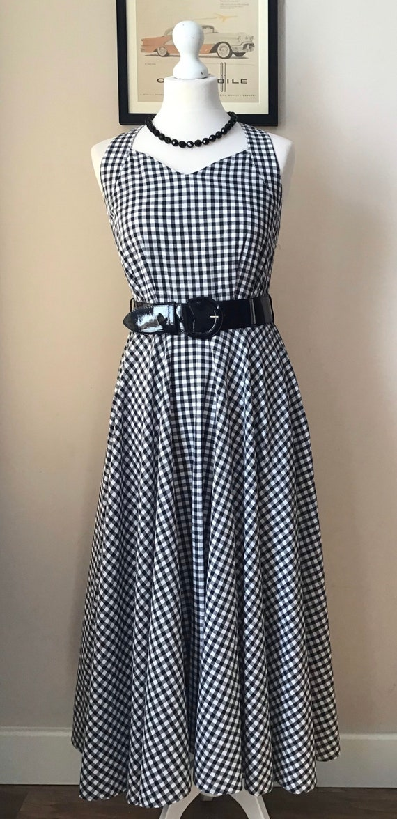 1950's style 1980's Black And White Gingham Dress