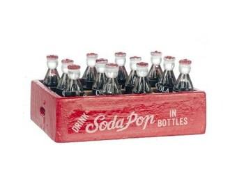 Miniature Dollhouse Fairy Garden Soda Pop Cola Wood Case Bottles COKE 09