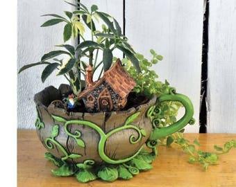 Miniature Garden - Woodland Vines Teacup Planter - Miniature Fairy Garden Supplies