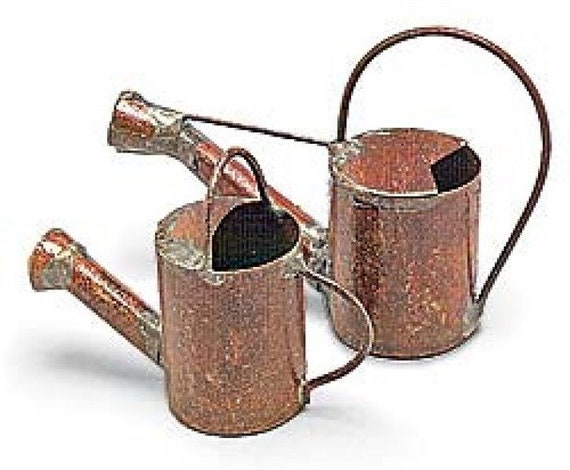 Miniature Dollhouse FAIRY GARDEN Accessories Antiqued Copper Metal Watering Can